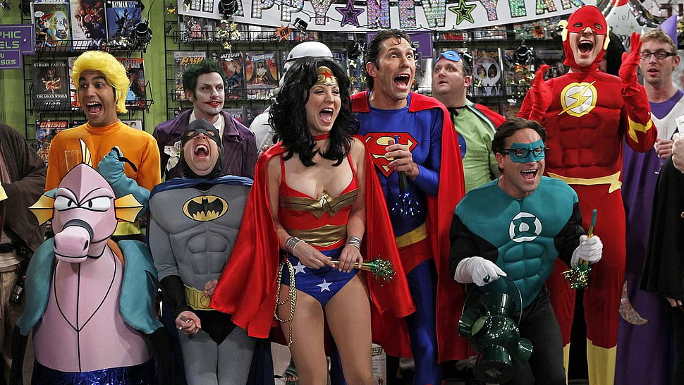 DC hero costume party from Big Bang Theory Show