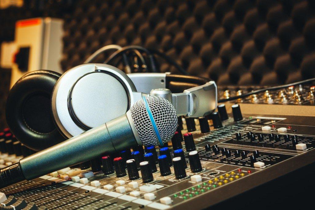 Mixer, microphone and headphones