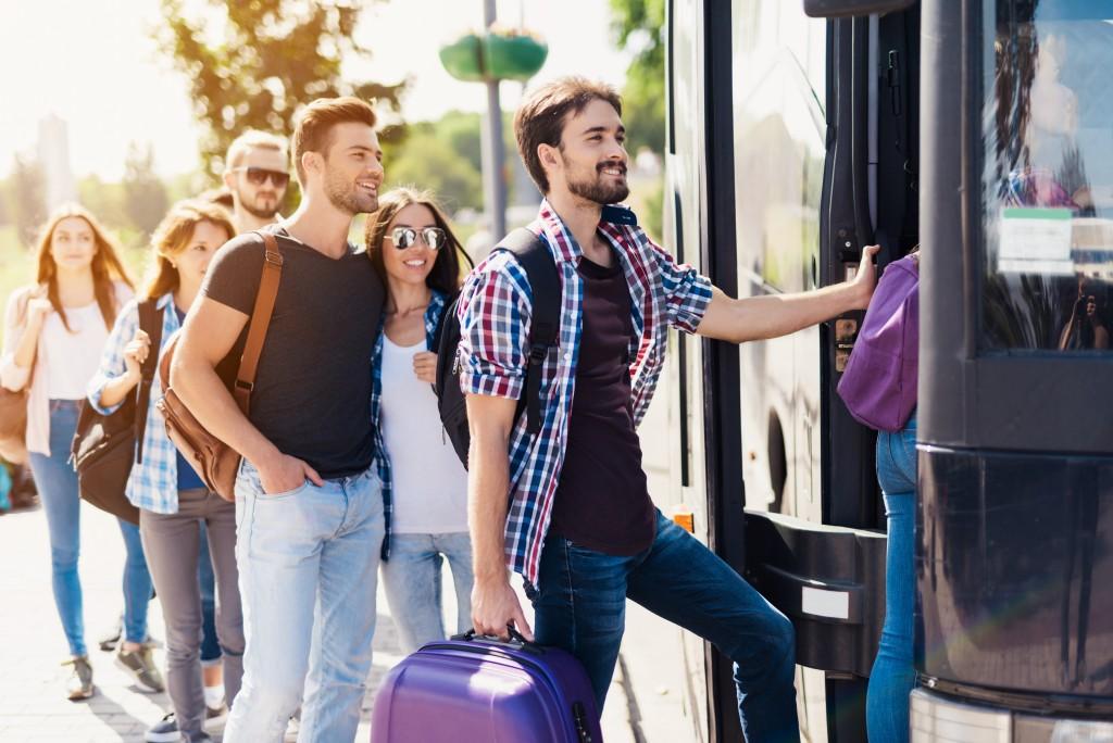 Tourist heading to the bus
