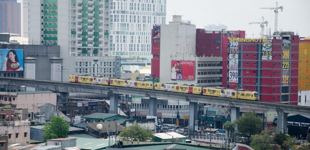 Light Rail Transit Passing Through the City