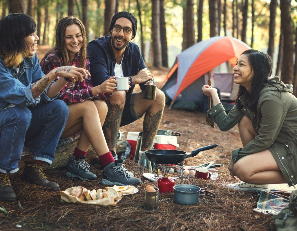 Friends in a camping trip