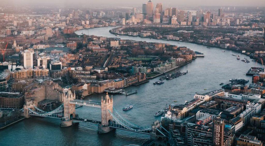 aerial photography of London skyline