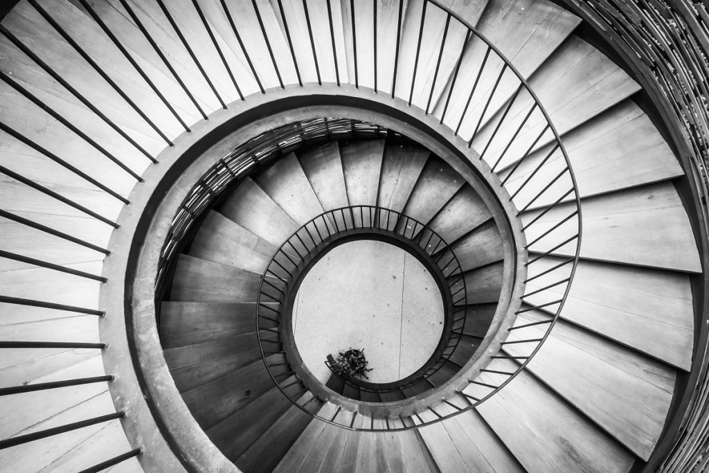 spiral staircase of lighthouse's interior