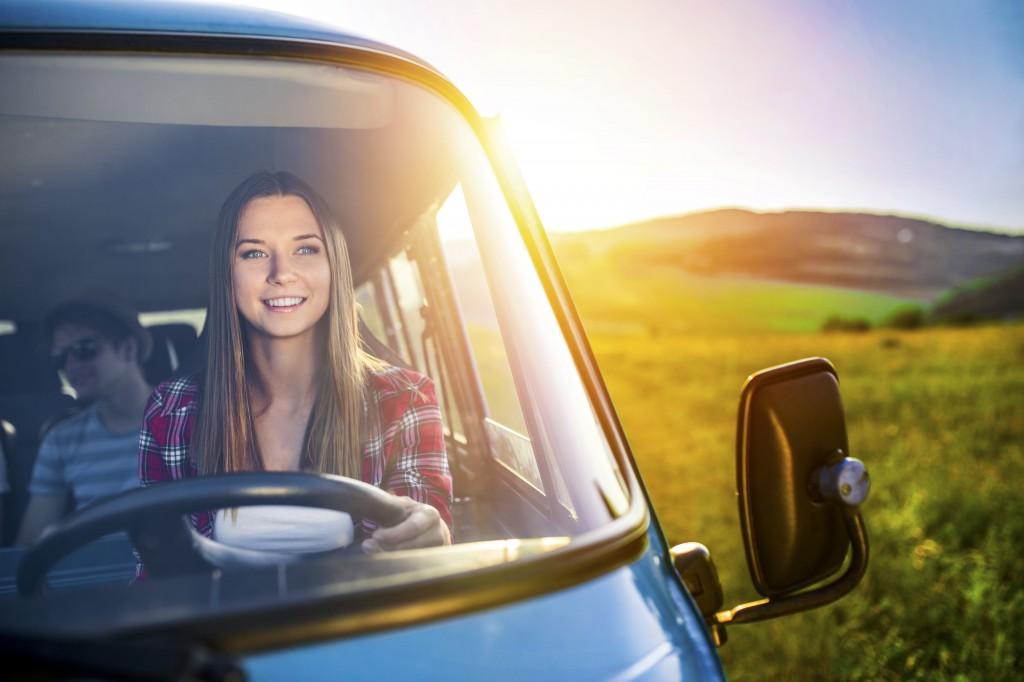 woman driving van